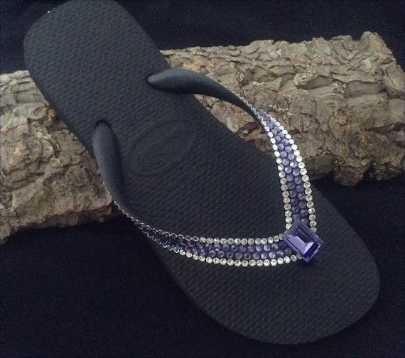 Purple Flip Flops Custom Crystal Bling w/ Swarovski Rhinestone Jewel Blue Tanzanite Havaianas flat or Wedge Heel Beach Thong wedding Shoes