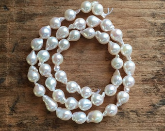 """Rare and Luxurious AAA All Natural Saltwater Ivory Akoya Baroque Pearls, 7mm - 7.5mm, One 15.5"""" Strand"""
