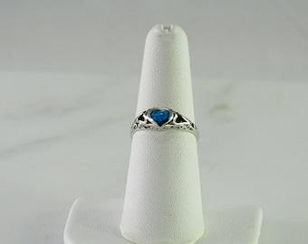 Sterling Turquoise Heart Stack Ring Size6.5