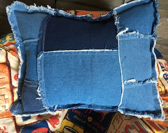 "Rustic Patched and Frayed denim blue jean pillow about 12"" X 16"""