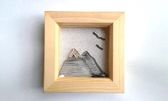 Mountains Shadowbox Frame, Art Shadow Box Frame Decoration, Handmade ...