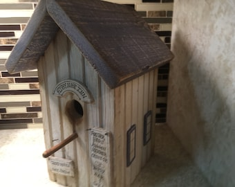 Rustic Blue Fly By Nite Inn Birdhouse Country Primitive