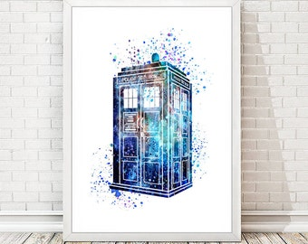 Tardis from Dr Who Print Abstract Watercolor Poster Blue Wall Art Illustration Wall Decor Mixed Media Children's Room Decor Watercolour A54