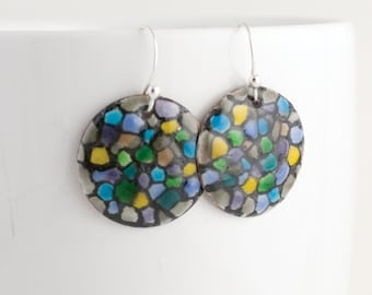 Mosaic Black Multicolored Enamel Earrings - OOAK