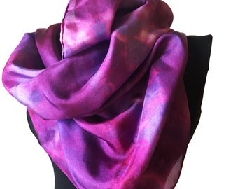 """Square Silk Scarf Hand Painted, Purple Hand Dyed, Shibori Scarf 35 x 35 """" Mother's Day Gift"""