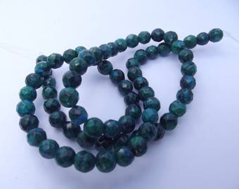 64 faceted round beads dyed 6 mm RHINESTONE 639 azurite