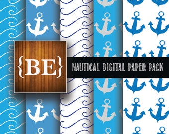 Nautical Digital Paper Pack 12x12 Paper Anchor Wave Waves Blue White Scrapbooking Scrap booking DIY