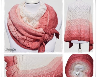Knitting Pattern Lace Shawl Strawberry & Cream