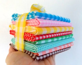 Vintage Gingham Fabric / Yellow & White  / Fat Quarter