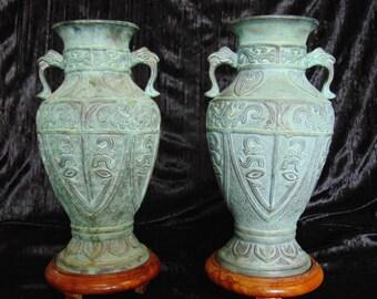 Antique Chinese bronze vase pair