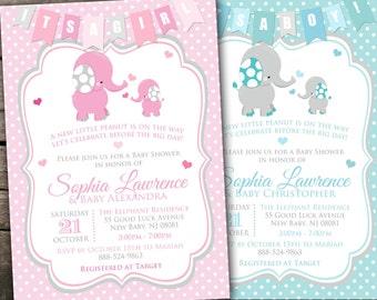 10% OFF Printed or Digital Elephant Baby Shower Invitation Elephant Baby Shower Printable Elephant Invitation