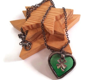 Stained Glass Pendant Green Glass Necklace Glass Metal Jewelry Green Heart Pendant Handmade Jewelry Shamrock Jewelry Clover Heart Pendant