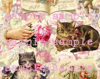Verkauf sofortigen digitalen Download druckbare viktorianischen Schrott Valentine Clip Art Engel Kinder Katzen Kätzchen Collage Blatt