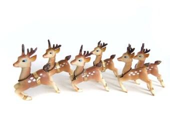 Rubber Reindeer Figurines, Vintage Reindeer, 50s 60s Christmas Deer Reindeer Decorations, Plastic Deer, Vintage Reindeer