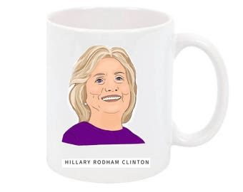 Hillary Clinton illustrated mug