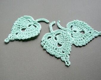3 Crochet Leaf Appliques -- Mint Green Birch Leaves