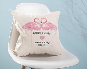 Personalised Flamingo Couples Cushion Pillow