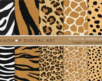 Digital Paper Linen 'Africa Skins' Printable Scrapbooking Papers Zebra, Tiger, Leopard, Giraffe and Cheetah for Scrapbook, Card Making...