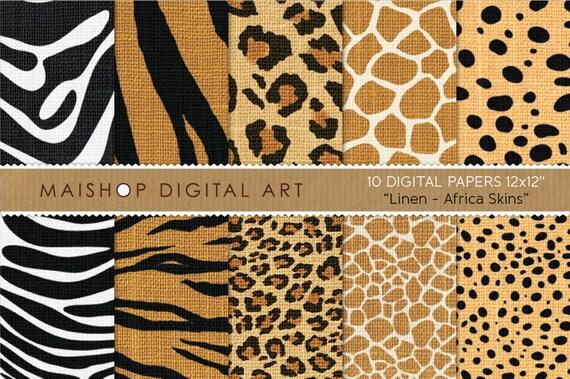 Digital Paper Linen Africa Skins Printable Scrapbooking Papers