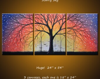 """Art Painting Triptych Original Large Abstract Modern Contemporary Trees Landscape ... 24"""" x 54""""... """"Starry Sky"""" by Amy Giacomelli"""
