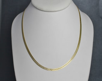 "14k Yellow Gold 18"" Herringbone Chain, 1990s Vintage Chain Necklace, Italian Gold Chain, Vintage Chain, Textured Chain, Ready to Ship"