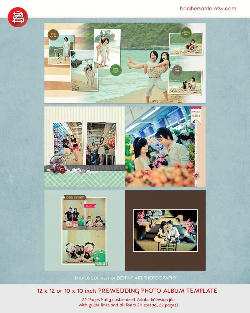 Plantilla de álbum de foto de boda de InDesign y Prewedding 12