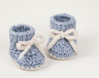 CROCHET PATTERN - Crochet Baby Booties Winter Snowflake - Baby Shoes - PDF
