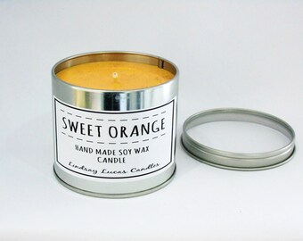 Orange Candle, Orange Scented Candle, Scented Candle, Tin Candle, Candle, Large Candle, Strong Candle, Fruity Scent, Orange Scent