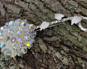 Vintage Iridescent Glass Beads Flower Brooch
