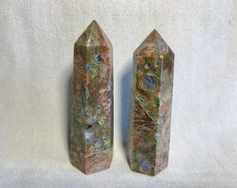 Beautiful Rare Que Sera Stone llanite Crystal Generators Towers Polished Points - Shiny Blue Crystal Inclusions