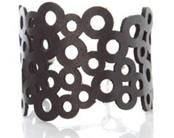 Statement Cuff - Iskin Abstraction Bracelet D - Leather - Laser Cut Bracelet - Contemporary Jewelry