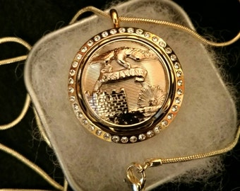 Essayons / Army Corps of Engineers Embellished Button Locket Pendant