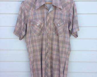 Vintage 70's H Bar C short sleeved western shirt.