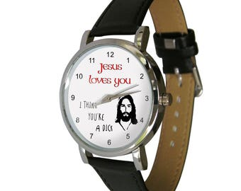 Jesus loves you wristwatch - Ideal gift for anyone with a wicked sense of humor
