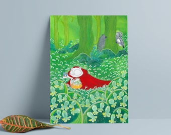 Original Art - Print of Handmade Illustration / Little Red Riding Hood fairy tale - with CATS / A3 or A4 giclée / Children's nursery