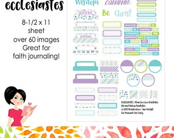 ECCLESIASTES - Faith Journaling Artwork | Printable Stickers, Ephemera | Bible Journaling, Bible Study | Digital Download