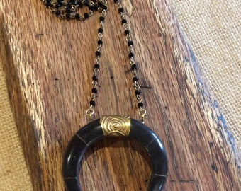 Crescent Horn Necklace with rosary chain