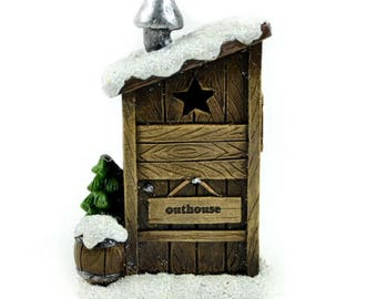 Miniature LED Winter Outhouse, Fairy Garden Winter Outhouse, Fairy Christmas Decor for Miniature Gardens and Holiday Home Decor