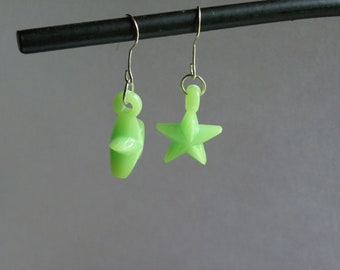 Dangle Light Green Star Earrings  #338   Free Shipping within US