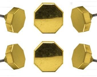 Set of Gold  Devanshi Octagonal Silver Glass Cabinet Drawer Knobs Cupboard Dresser Pull