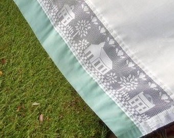 4 pc COUNTRY VILLAGE Cafe Curtain Set, White Lace Insets Church School Home Trees Hearts, Green/Blue Hem Rod Pocket 1970 Cotton Poly Decor