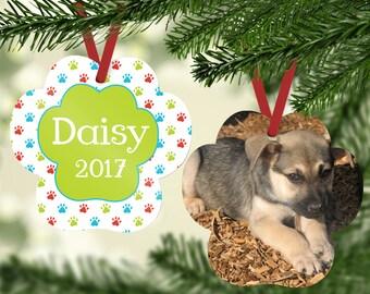PAWPRINT CHRISTMAS ORNAMENT w/ Multi Color PawPrint. Personalized dog ornament, pet ornament, pawprint ornament, pet keepsake, dog ornament.