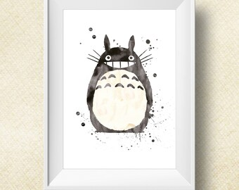 Totoro Print Watercolor, Totoro Poster, Digital Print, Instant Download, Anime Poster, Art, Watercolor Print, My Neighbor Totoro - 3 Sizes