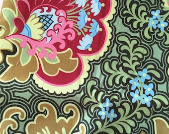Remnant Amy Butler Gothic Rose Burgundy Belle Collection 16x42'' Quilt Fabric Sewing Fabric Retro