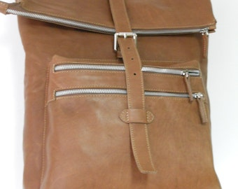 natural tanned leather backpack