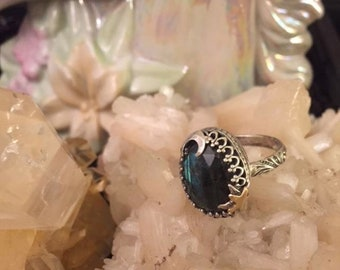 OOAK Sterling Silver and Labradorite Moon and Stars Ring