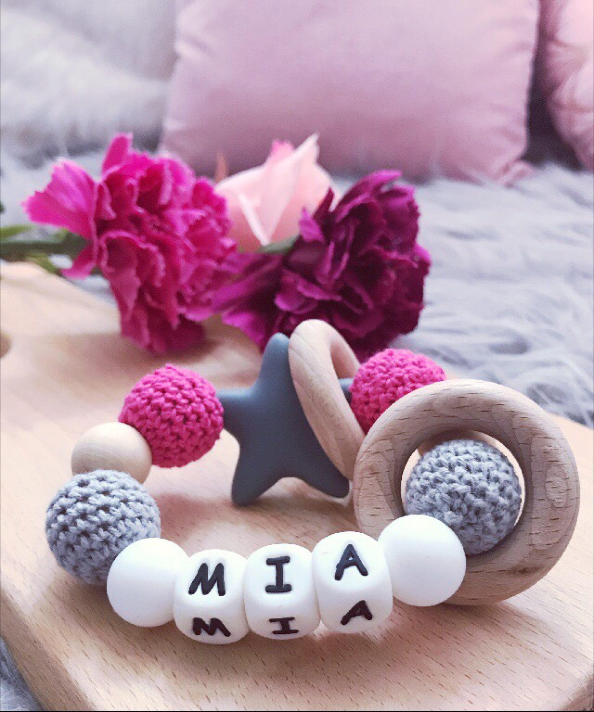 Personalised Gift Teething Ring Wooden Rattle Baby Teether
