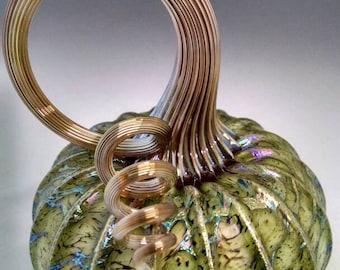 Green mossy web Jack Pine glass pumpkin