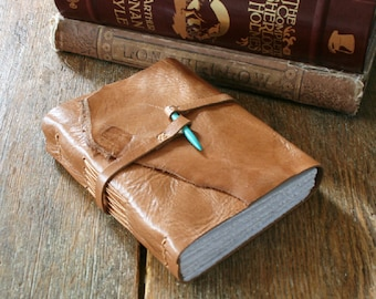 Leather Journal with Turquoise howlite spike closure . handmade handbound . supple tan leather (320 pgs)