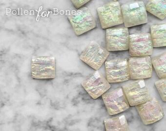 10pcs ∙ Cream Faceted Opal Acrylic Square Iridescent Decoden Gem Tiles Flatback Cabochon Faux Fire Opal Jewelry Supplies